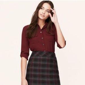 Loft purple plaid mini skirt zipper pockets
